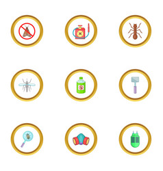 home pest control service icons set cartoon style vector image