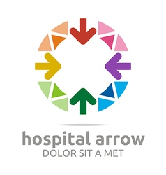 hospital arrow circle colorful icon vector image