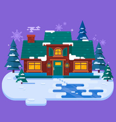 house in the winter evening christmas card flat vector image