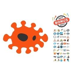 Infection icon with 2017 year bonus symbols vector