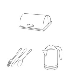 isolated object of kitchen and cook sign set of vector image