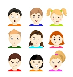 Kids with different emotions set 1 vector