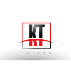 Kt k t logo letters with red and black colors vector