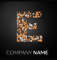 letter e logo gold-silver dots alphabet logotype vector image