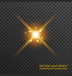 Light flare in golden color isolated on vector