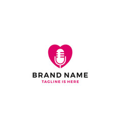 love mic podcast live show broadcast logo template vector image