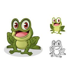 male frog cartoon character mascot design vector image