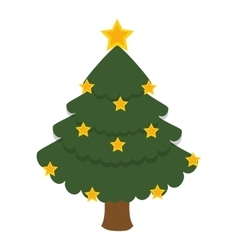 merry christmas tree isolated icon vector image