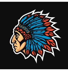 Native American Indian Chief head profile Mascot vector image