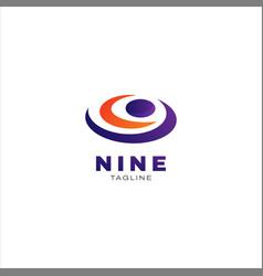 Nine letter number mark logo design template vector