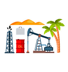 oil icons production extraction isolated vector image