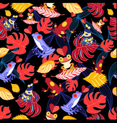 pattern lovers frogs vector image