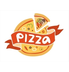 Pizza flat icon logo template vector image