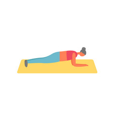 Plank work out abs improvement woman on mat vector