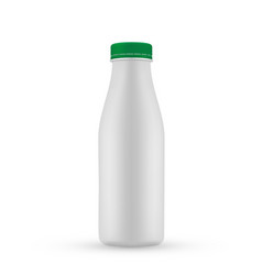 Plastic blank milk bottle with green screw ca vector