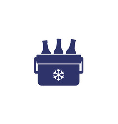 Portable cooler with beer icon on white vector