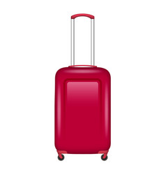 Red travel bag icon realistic style vector