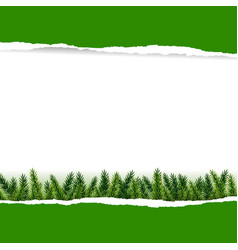 ripped green paper with furtree vector image