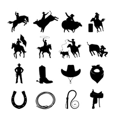 Rodeo Black Icons Set vector