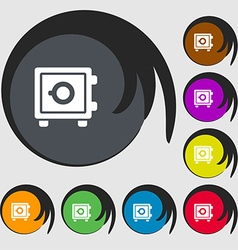 Safe icon sign Symbols on eight colored buttons vector