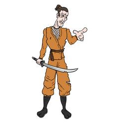 samurai pointing vector image