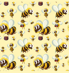 seamless bumble bee pattern vector image