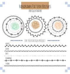 Seamless pattern hand drawn brushes vector