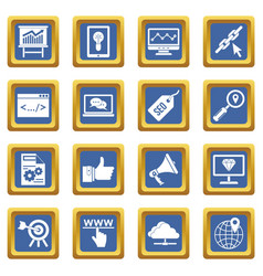 seo icons set blue vector image