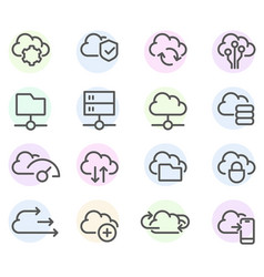 set computer cloud line icons - data vector image