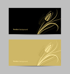 Set horizontal banners wheat spikelet vector