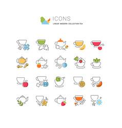 Set line icons tea vector