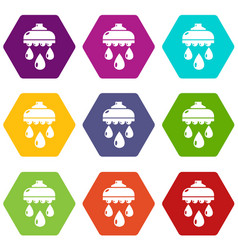 Shower head icons set 9 vector