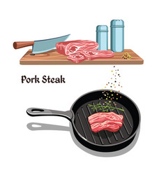 Sketch meat steak cooking template vector