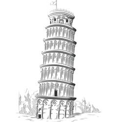 Sketch of Italy Landmark Leaning Tower of Pisa vector