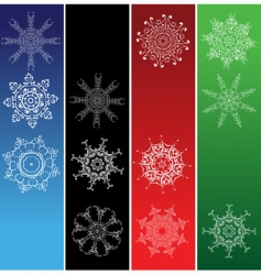 snowflakes Christmas frames vector image
