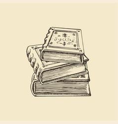 Stack books drawn sketch vector