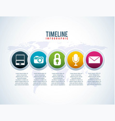 timeline infographic world business network vector image