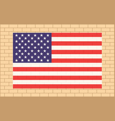 usa flag on beige brick wall vector image