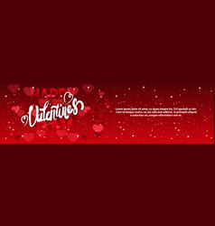 Valentine day horizontal banner with handwritten vector