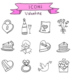 Valentine element icons with hand draw vector image