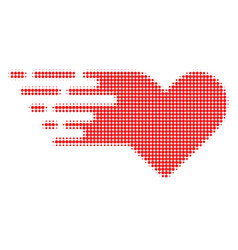 valentine heart halftone dotted icon with fast vector image