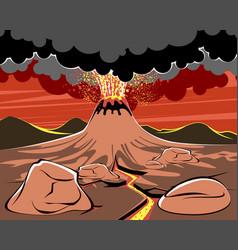 Volcano eruption image vector