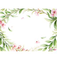 watercolor card pink flowers and green vector image