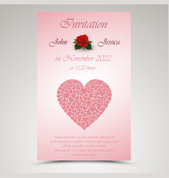 Wedding announcement with red hearts and roses vector