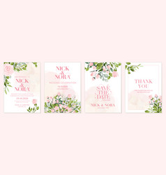 wedding floral golden invitation card save the vector image