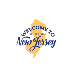 Welcome to new jersey word text creative font vector