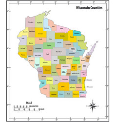 wisconsin state outline administrative and vector image