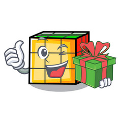 With gift rubik cube mascot cartoon vector
