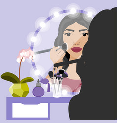 with girl doing makeup vector image vector image