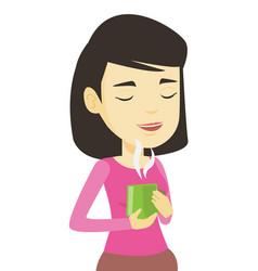 Woman enjoying cup of coffee vector